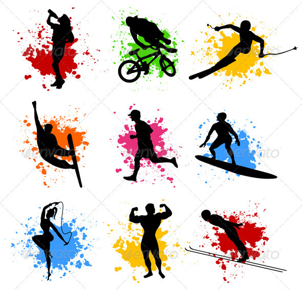 GraphicRiver Sports silhouettes 558852