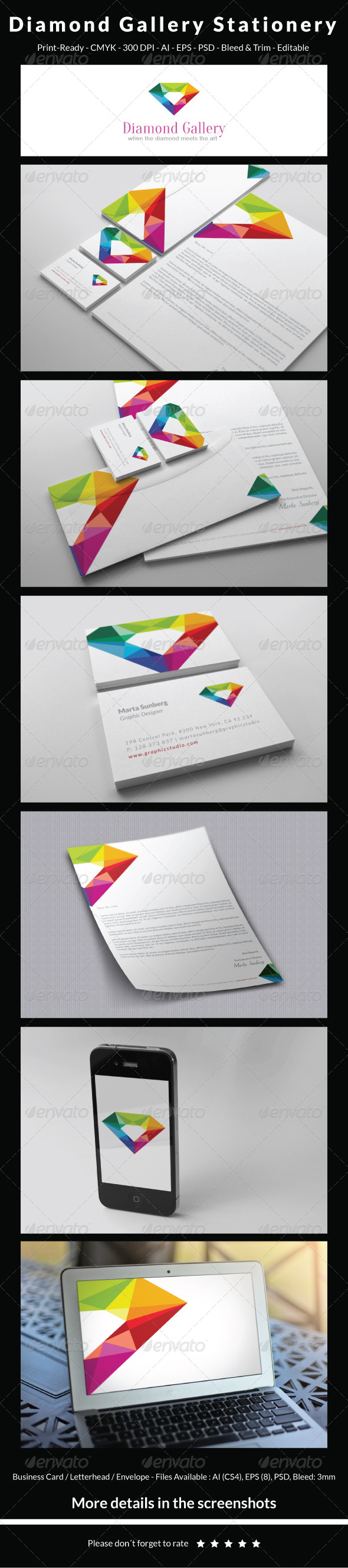 GraphicRiver Diamond Gallery Stationery 5434923