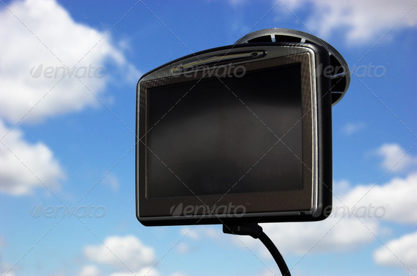 GPS on car window - Stock Photo - Images