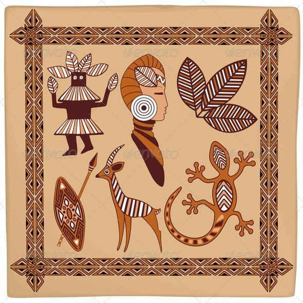 GraphicRiver Africa Symbolic Ethnic Art Design on Leather 5435728