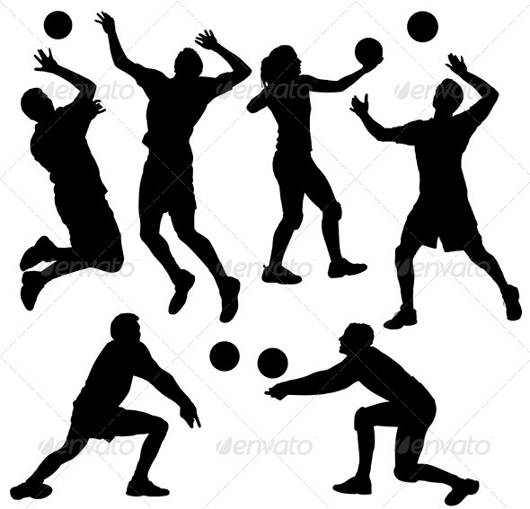 GraphicRiver Volleyball Silhouette 5435752