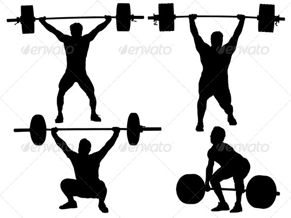 GraphicRiver Weight Lifting Silhouette 5435785