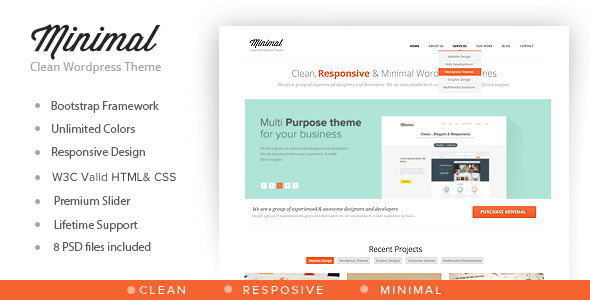 ThemeForest Minimal Multipurpose Minimal WordPress Theme 5437338