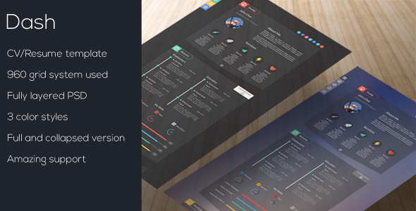 Dash - Modern Resume Template PSD  - Virtual Business Card Personal