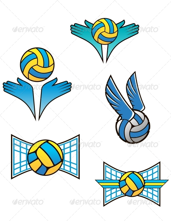 Volleyball Sports Symbols and Icons - Sports/Activity Conceptual