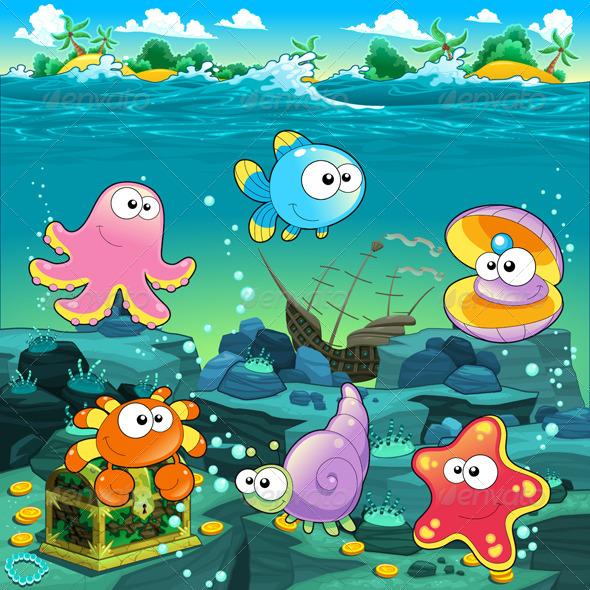 GraphicRiver Seascape with Treasure Galleon and Fish 5439219