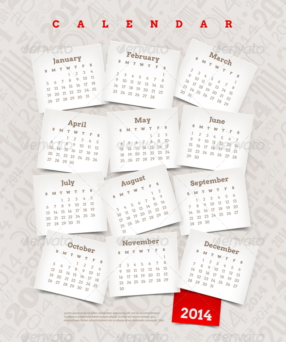 GraphicRiver Decorative Calendar of 2014 5439706