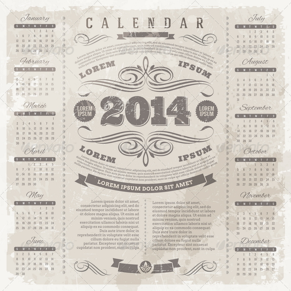 GraphicRiver Ornate Vintage Calendar of 2014 5440285