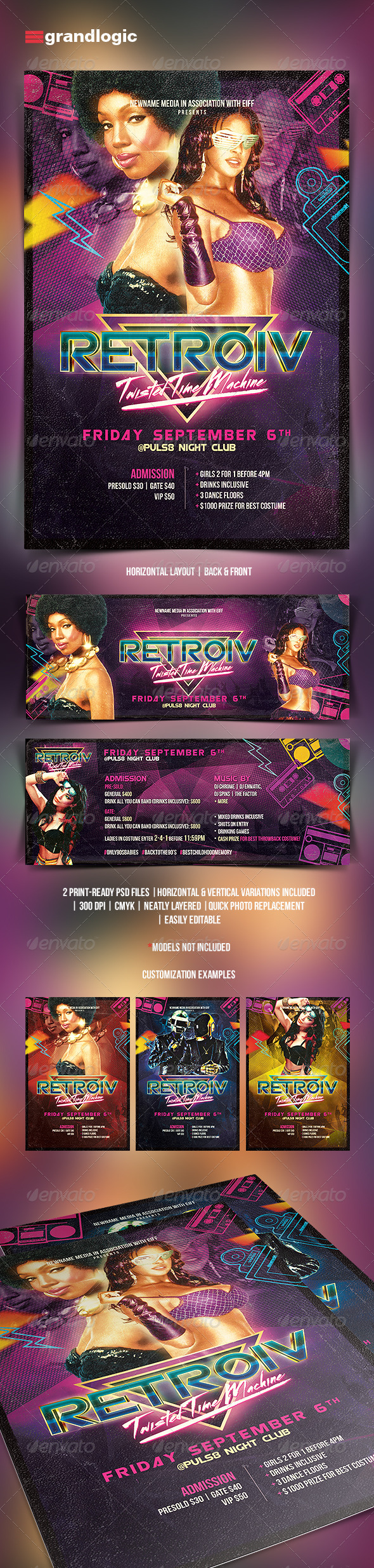 GraphicRiver Futuristic Retro Party Flyer 5440439