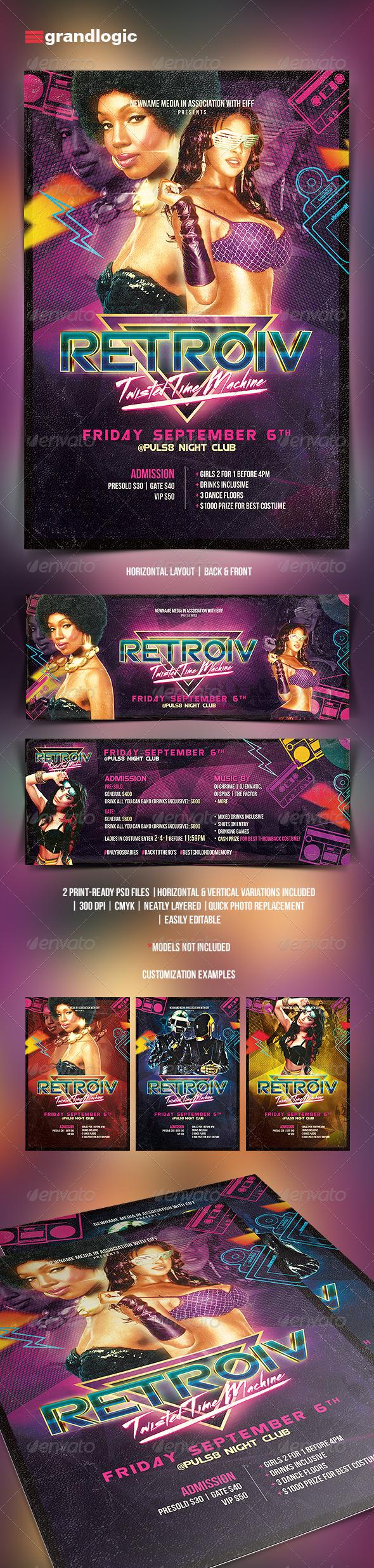 GraphicRiver Futuristic Retro Party Flyer 5440439