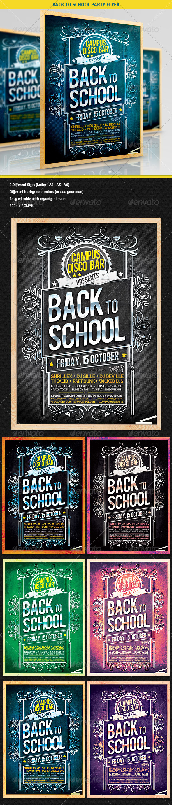 GraphicRiver Chalkboard Back To School Party Flyer 5441674
