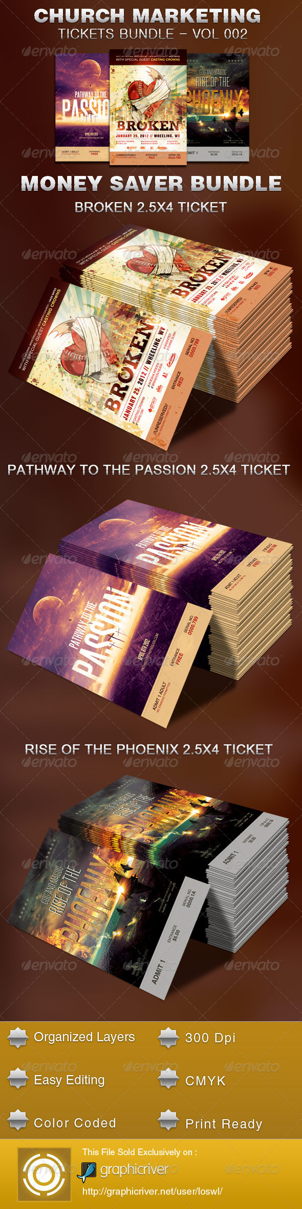 GraphicRiver Church Marketing Tickets Bundle-Vol 002 5444190