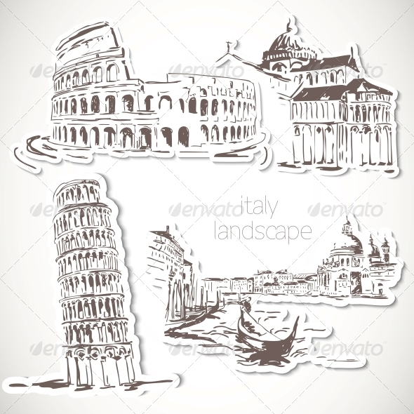 GraphicRiver Italy Hand Drawn Landscape in Vintage Style 5445238