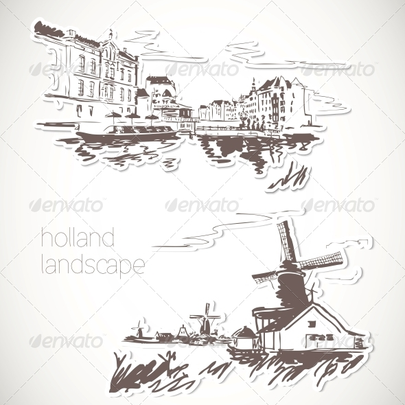 GraphicRiver Holland Hand Drawn Landscape in Vintage Style 5445348