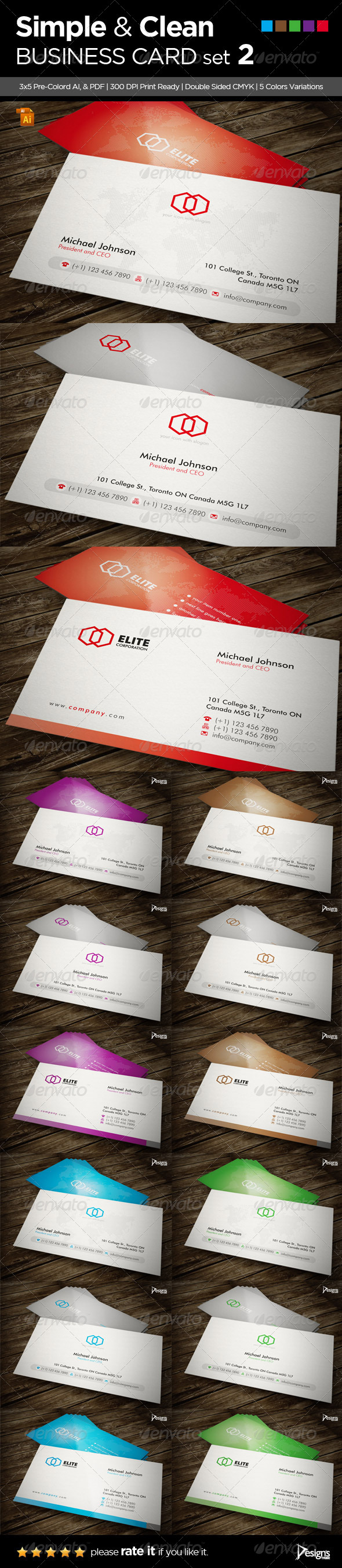 3in1 Simple and Clean Business Card - Corporate Business Cards