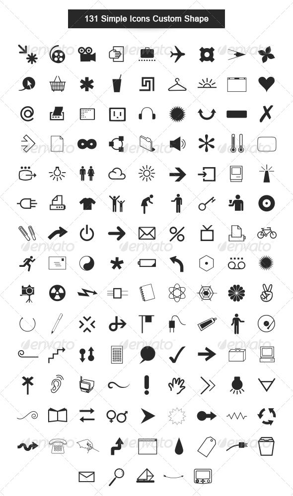 GraphicRiver 131 Simple Icons Custom Shape 5447715