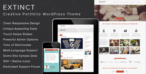 Extinct - Creative Portfolio WordPress Theme