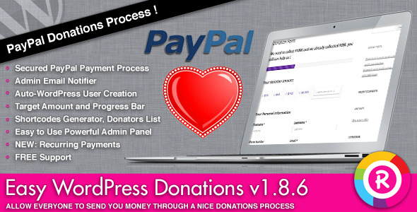 Easy WordPress Donations - CodeCanyon Item for Sale