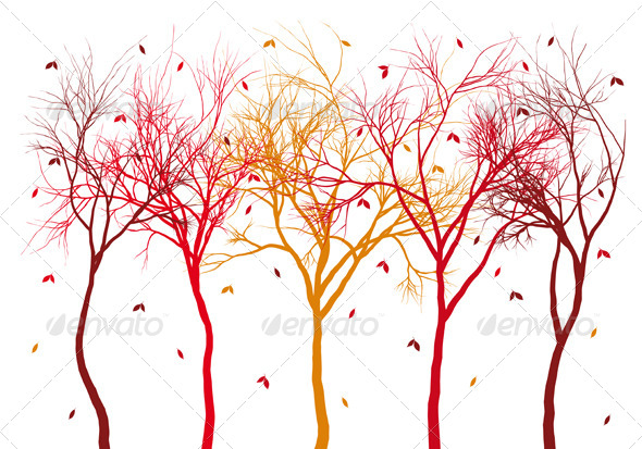 GraphicRiver Autumn Trees with Falling Leaves 5452507