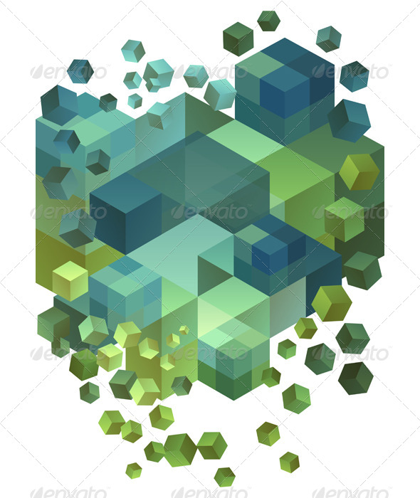 GraphicRiver Abstract 3D Cubes Vector Background 5452515