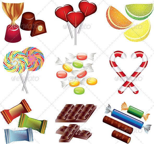 GraphicRiver Colorful Candies Vector Set 5453741