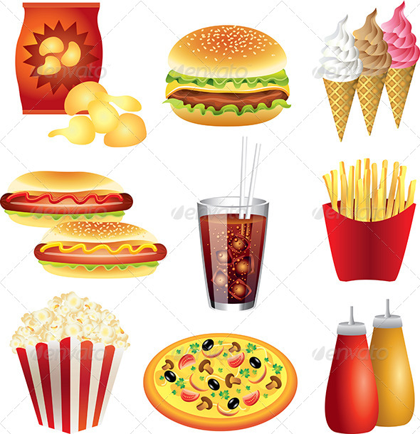 GraphicRiver Fast Food Meals Vector Set 5453887