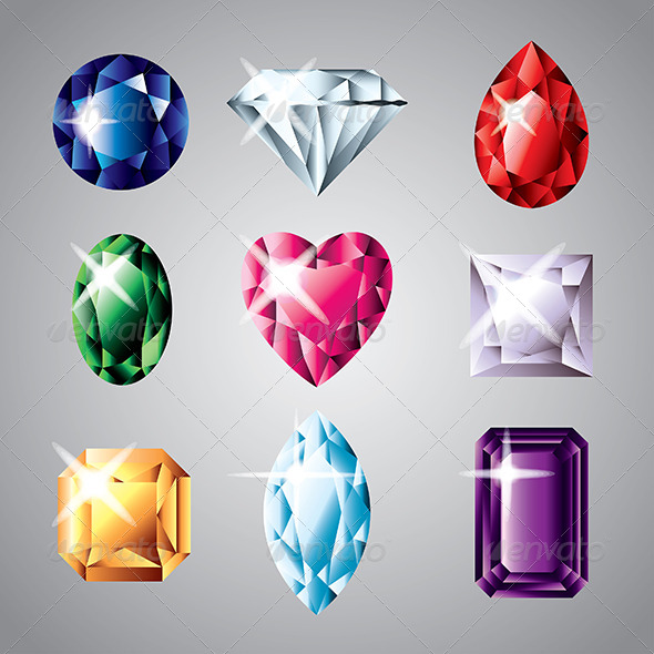 GraphicRiver Diamonds and Gemstones Vector Set 5454004