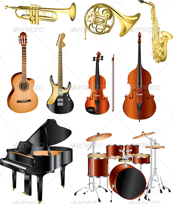 GraphicRiver Musical Instruments Vector Set 5454625