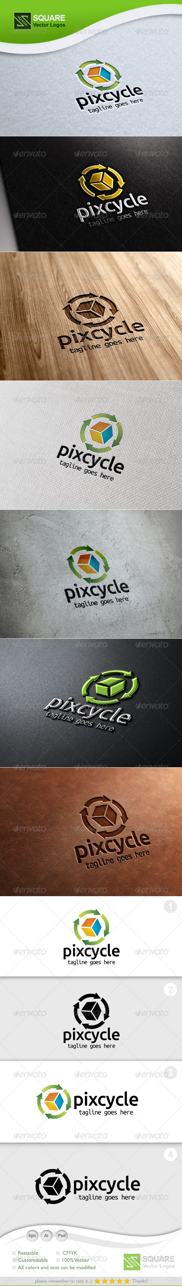 Pixel, Recycle Design Vector Logo Template - Symbols Logo Templates
