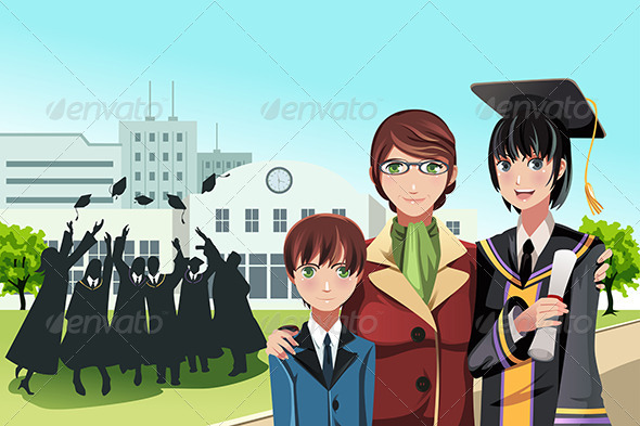 GraphicRiver Graduation Girl with Mother and Brother 5455120