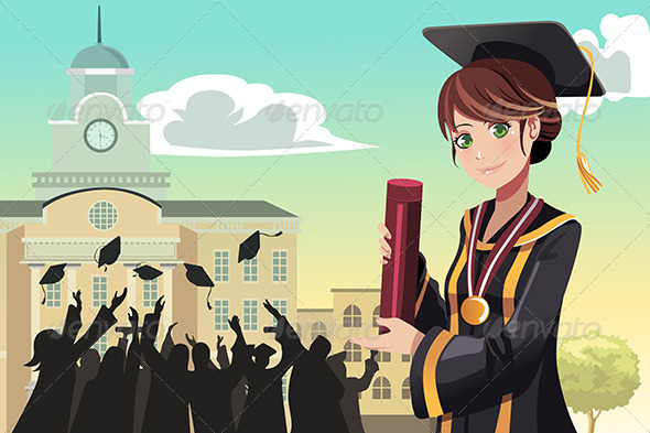 GraphicRiver Graduation Girl Holding Diploma 5455150