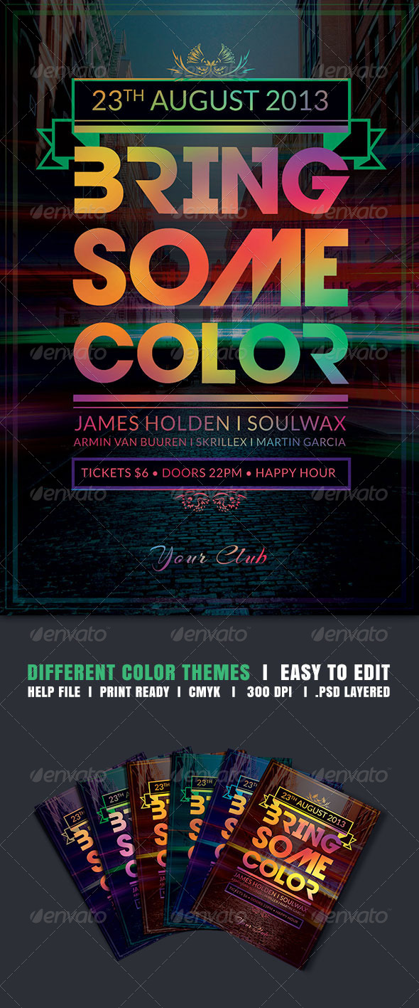 Bring Some Color Flyer - Clubs & Parties Events