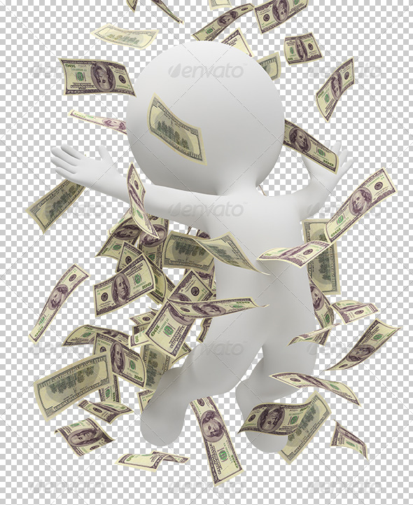 GraphicRiver 3D small people money rain 5457558