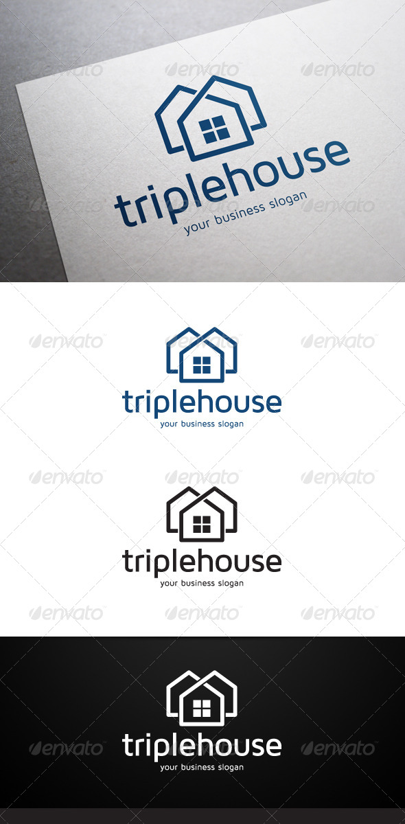 GraphicRiver Triple House Logo 5458374