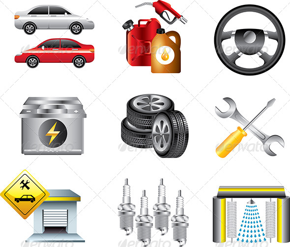GraphicRiver Car Service and Filling Station Icons Set 5458595