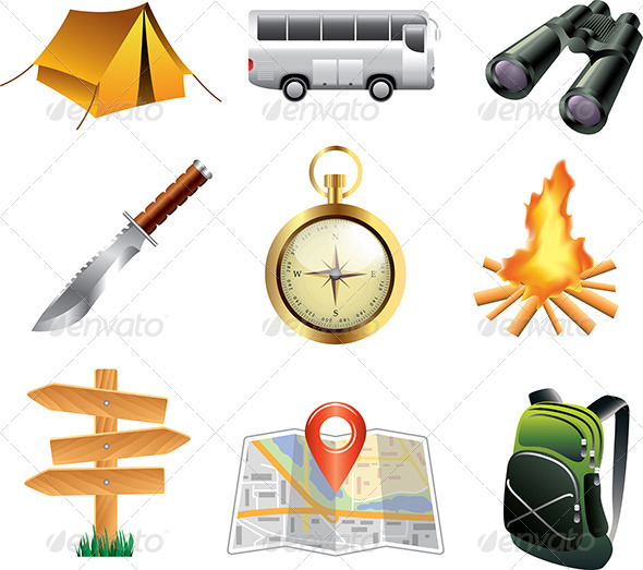 GraphicRiver Tourism and Camping Icons Set 5458788