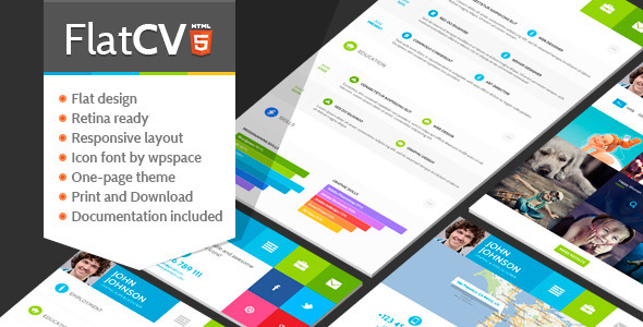 FlatCV - Resume \ Portfolio \ HTML5 - Virtual Business Card Personal