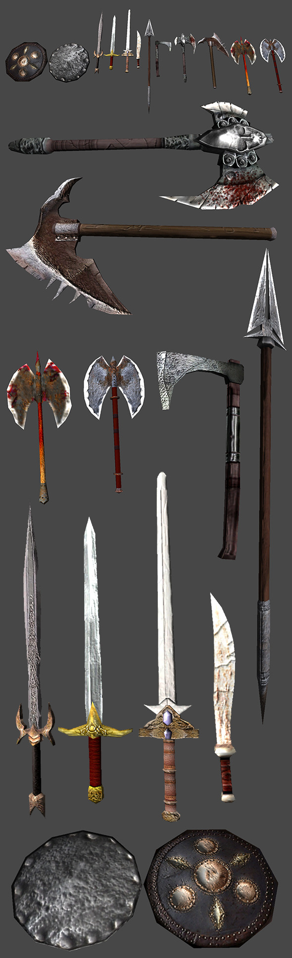 3DOcean Cold Weapons LowPoly Models Pack 5456734