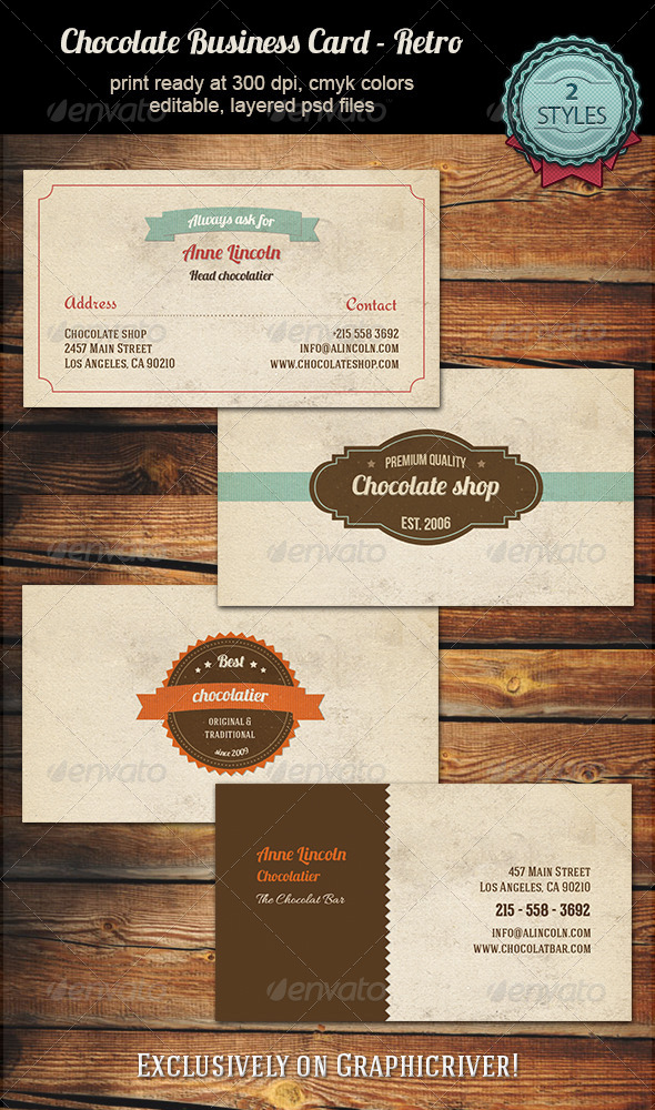 GraphicRiver Chocolate Business Card Retro 5459476
