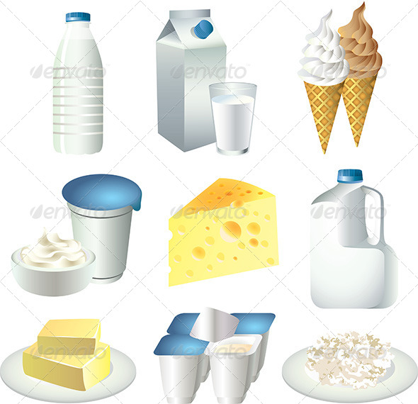 GraphicRiver Milk and Dairy Products Vector Set 5460085