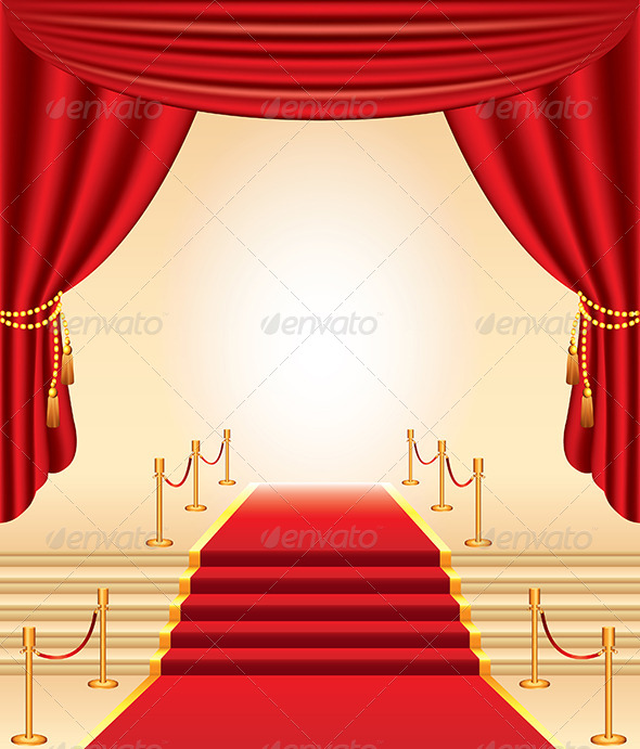 Red Carpet, Stairs and Curtains | GraphicRiver