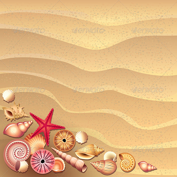 GraphicRiver Seashells on Sand Background Vector 5460425