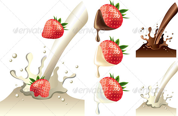 GraphicRiver Strawberry in Milk and Chololate Splash 5460436