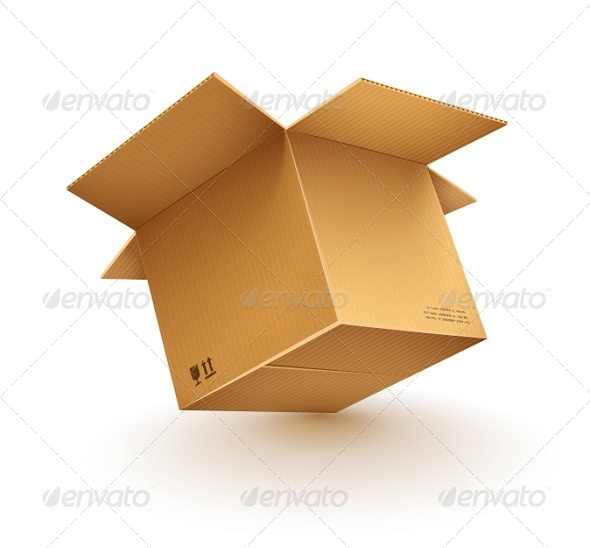 GraphicRiver Empty Opened Cardboard Box 5463713
