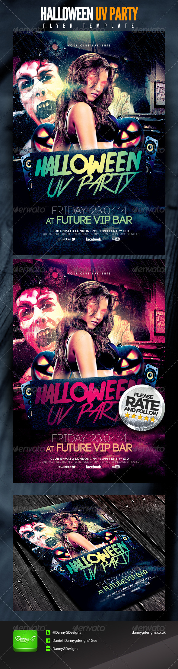 Halloween UV Party Flyer Template - Clubs & Parties Events