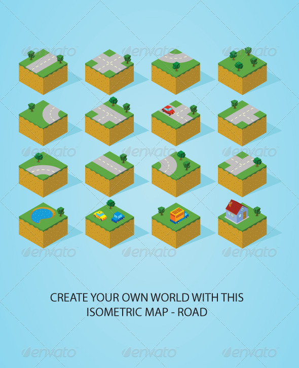 GraphicRiver Pre Assembly Isometric Map-Road 5466363