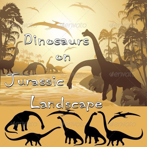 GraphicRiver Dinosaurs on Tropical Jurassic Landscape 5467419