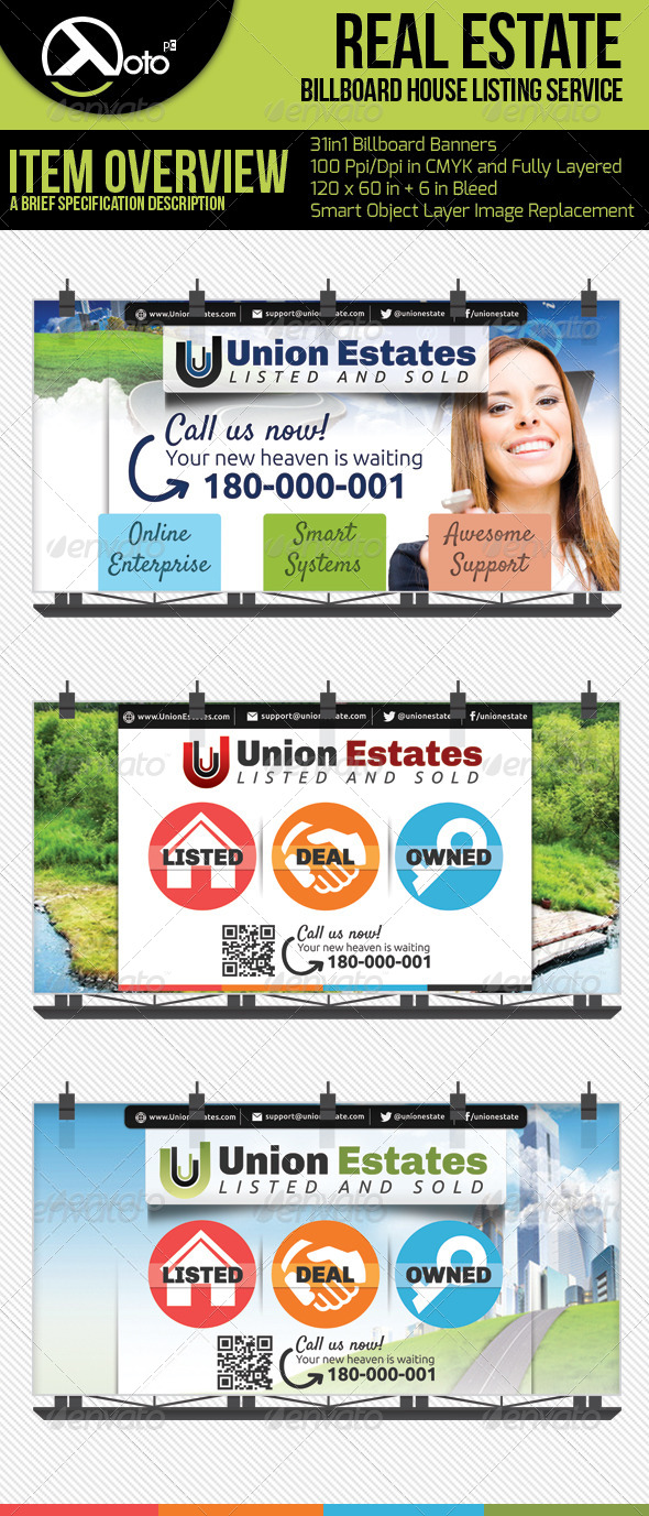 3 in 1 Real Estate Billboards - Signage Print Templates