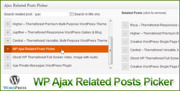 WP Ajax Related Posts Picker - CodeCanyon Item for Sale
