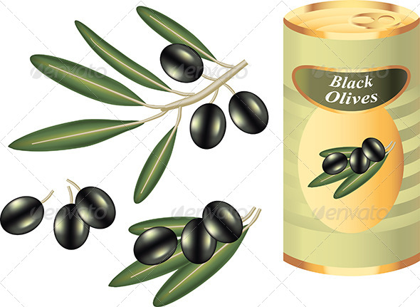 GraphicRiver Black Olive Branch and Bank Isolated on White 5468103